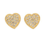 NEW Modern 14K Yellow Gold Diamond 0.35CTW Heart Stud Earrings
