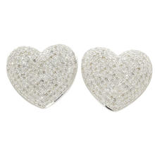 NEW Modern 10K White Gold Pave Set Diamond 1.00CTW Heart Stud Earrings