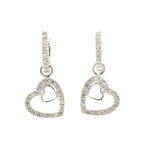 NEW Modern 10K White Gold Diamond 0.50CTW Open Heart Huggie Earrings