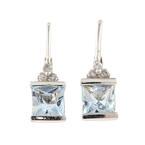 NEW Modern 10K White Gold Diamond Aquamarine French Back Earrings