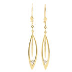 NEW Modern 14K Yellow Gold Diamond Drop Kidney Back Earrings