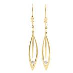 NEW Modern 14K Yellow Gold Diamond Drop Kidney Back Earrings
