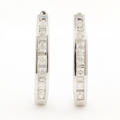 NEW Classic Modern 10K White Gold Diamond 1.00CTW Hoop Earrings