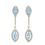 NEW Modern Ladies 10K White Gold BlueTopaz Diamond 2.00CTW Drop Earrings