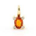 Vibrant 14K Yellow Gold Diamond Oval Cut Orange Gemstone Pendant Jewelry