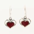 Vintage Kabana Sterling Silver 925 Dangle Hook Red Enamel Heart Earrings Jewelry