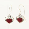 Vintage Kabana Sterling Silver 925 Dangle Hook Red Enamel Heart Earrings Jewelry