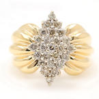 Estate Ladies 14K Yellow Gold Diamond 0.50CTW Cluster Right Hand Ring