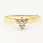 Estate Ladies 14K Yellow Gold Diamond 0.15CTW Cluster Right Hand Ring