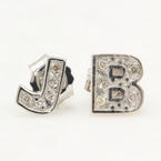 Modern 14K White Gold Diamond Initial Personalized Letter J B Push Back Earrings