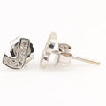 Modern 14K White Gold Diamond Initial Personalized Letter J B Push Back Earrings
