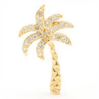 NEW Modern 14K Yellow Gold Palm Tree Pave Set Diamond 0.30CTW Slide Pendant
