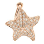 NEW Modern 14K Rose Gold Star Fish Pave Set Diamond 0.33CTW Charm Pendant