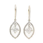 Modern Ladies Estate 14K White Gold Diamond 0.80CTW Dangle Fish Hook Earrings
