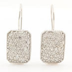 Modern Ladies Estate 14K White Gold Pave Set Diamond 1.50CTW Dangle Fish Hook Earrings