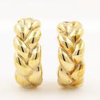 Vintage Estate 14K Yellow Gold Half Hoop Braided Woven Push Back Earrings