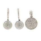 NEW Modern 14K White Gold Diamond 2.15CTW Huggie Earrings Pendant Two Piece Set