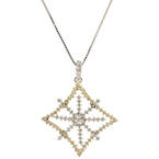 "Modern 14K White Yellow Gold Diamond 0.75CTW Ornate Snowflake Pendant 21"" Box Chain"
