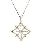 "Modern 14K White Yellow Gold Diamond 0.75CTW Ornate Snowflake Pendant 21"" Box Chain"