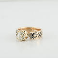 Stunning 14K Rose Gold Enamel Old Minor Solitaire Vintage Diamond Wedding Ring