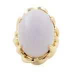 Vintage Estate 14K Yellow Gold Lilac Purple Jade Cabochon 30.30CT Cocktail Ring