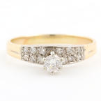 Classic Ladies Vintage 14K Yellow Gold Diamond 0.50CTW Engagement Ring