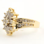 Vintage Estate 14K Yellow Gold Diamond 0.90CTW Cluster Right Hand Ring