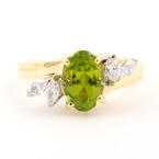 Retro Estate 14K Yellow Gold Oval Cut Green Peridot Marquise Cut Diamond Cocktail Right Hand Ring