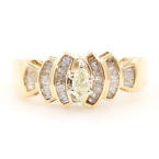 Estate 10K Yellow Gold Marquise Diamond 0.50CTW Right Hand Ring Jewelry