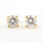 Charming Ladies 14K Yellow Gold Diamond 0.40CTW Stud Earrings Jewelry