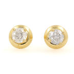 NEW Classic 18K Yellow Gold Diamond 0.40CTW Stud Screw Back Earrings Jewelry