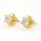 NEW Classic 18K Yellow Gold Diamond 0.40CTW Stud Screw Back Earrings Jewelry