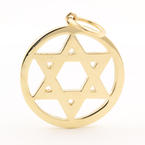 Vintage Estate 14K Yellow Gold  Star of David 40MM Pendant Jewelry