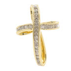 Estate Ladies 10K Yellow Gold Cross Diamond 0.25CTW Pendant Jewelry