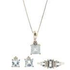 Retro Estate White Gold Diamond Aquamarine Pendant Earrings Ring 3PC Jewelry Set