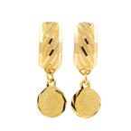 Estate Ladies 18K Yellow Gold Huggie Coin Dangle Earrings Jewelry