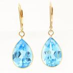Retro 14K Yellow Gold Blue Topaz Pear Cut Gemstone 13.0CTW Drop Earrings