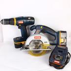 "Ryobi 18 Volt P501 P206 Circular Saw 1/2"" Cordless Drill/Driver 2 Pcs Tool Kit"