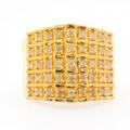 Estate Women's Yellow 925 Silver Natural Diamond Pyramid Right Hand Ring