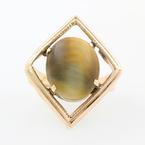 Fine Vintage Estate Retro 18K Yellow Gold Tigers Eye Cabochon Cocktail Ring
