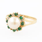 Ladies Estate 14K Yellow Gold Cultured Pearl Diamond Emerald Right Hand Cocktail Ring