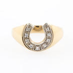 Vintage Men's Estate 10K Yellow Gold Diamond Horse Shoe Good Luck Ring