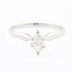 Classic Modern 14K White Gold Marquise Cut Diamond Solitaire 0.30CTW  Engagement Ring