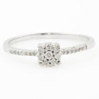 Ladies Vintage Estate 10K White Gold Diamond Halo Engagement Ring - 0.15CTW