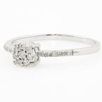 Ladies Vintage Estate 10K White Gold Diamond Halo Engagement Ring - 0.15CTW