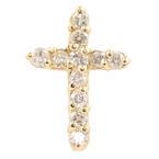 Classic Estate  14K Yellow Gold Diamond 20MM Cross Pendant