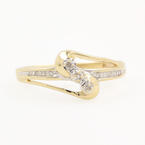 Estate 10K Yellow Gold Diamond 0.18CTW Bypass Right Hand Ring Jewelry