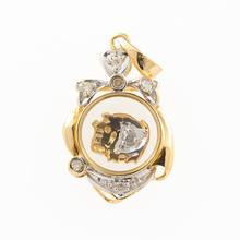 Estate 18K Yellow Gold Chinese Zodiac Year of The Pig Moving Diamond Pendant