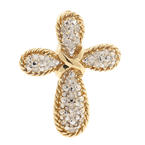 Vintage Classic Estate 10K Yellow Gold Cross Diamond Pendant - 25MM