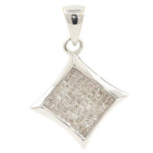 Classic Estate 14K White Gold Princess Cut Diamond 0.50CTW Pendant